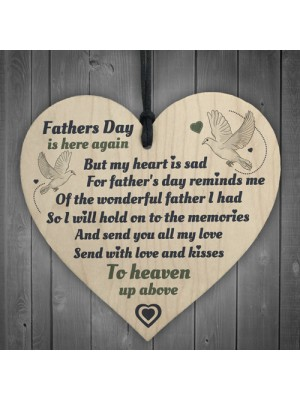 Wonderful Father Hanging Wooden Heart FATHERS DAY Memorial Sign