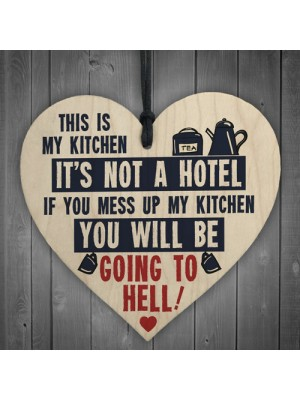 Vintage This Is My Kitchen Funny Hanging Wooden Heart Retro Sign