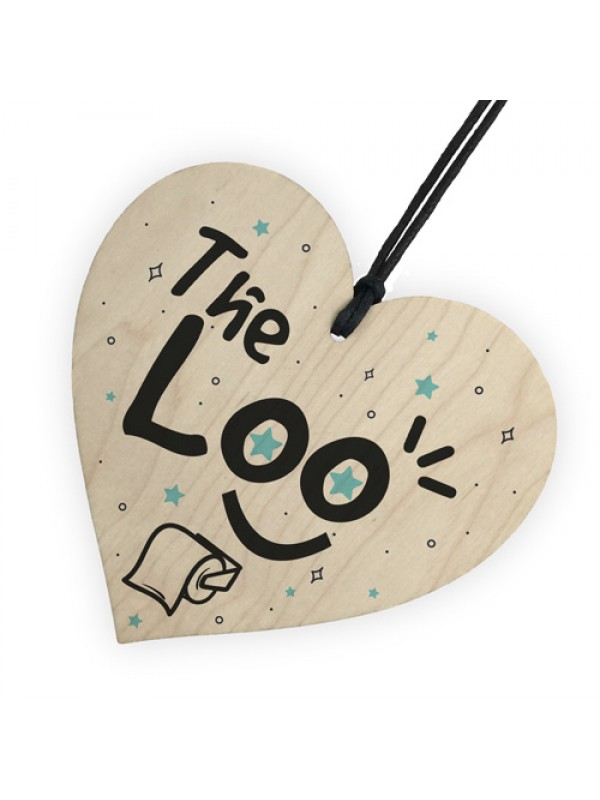Shabby Chic The LOO Hanging Wooden Heart Home Toilet Plaque Sign