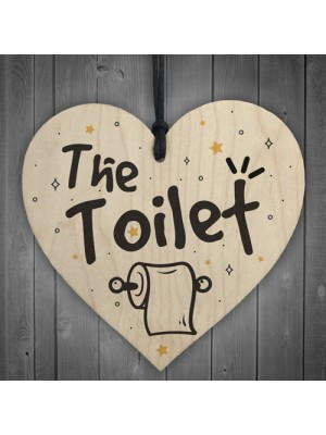 Shabby Chic The Toilet Hanging Wooden Heart Home Toilet Plaque