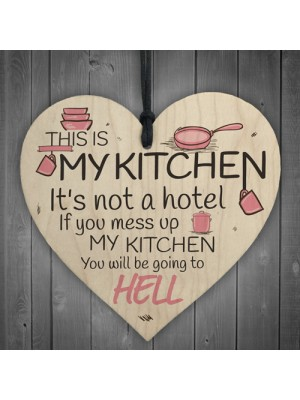 Shabby Chic This Is My Kitchen Hanging Wooden Heart Funny Gift