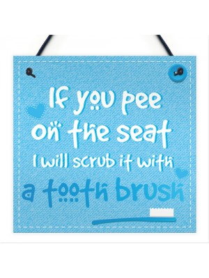 Funny Pee On The Seat Chic Bathroom Door Toilet Sign Loo Art