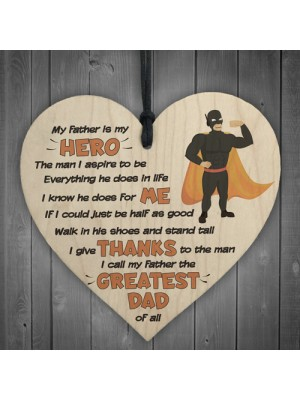 Hero Father Fathers Day Dad Daddy Wooden Hanging Heart Sign