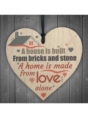 Home Made Of Love Wooden Hanging Heart House Warming Gift Sign