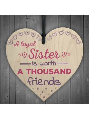Loyal Sister Shabby Chic Wooden Hanging Heart Plaque Sign