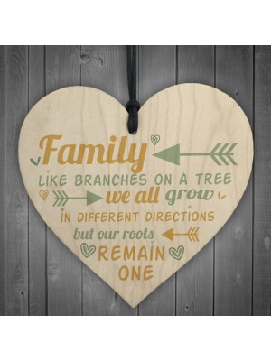 Family Remain One House Warming Wooden Hanging Heart Sign Gift