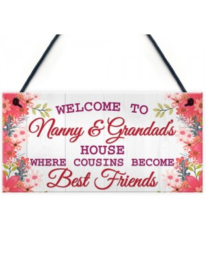 Nanny And Grandads House Shabby Chic Hanging Sign Plaque Gift