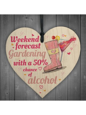 Funny 50% Of Alcohol Garden Wooden Hanging Heart Shed Sign GIFT