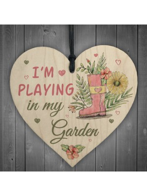 Novelty Playing In My Garden Wooden Hanging Heart Shed Sign GIFT