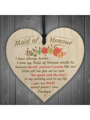 Thank You Maid Of Honour Wooden Heart Wedding Keepsake Gifts