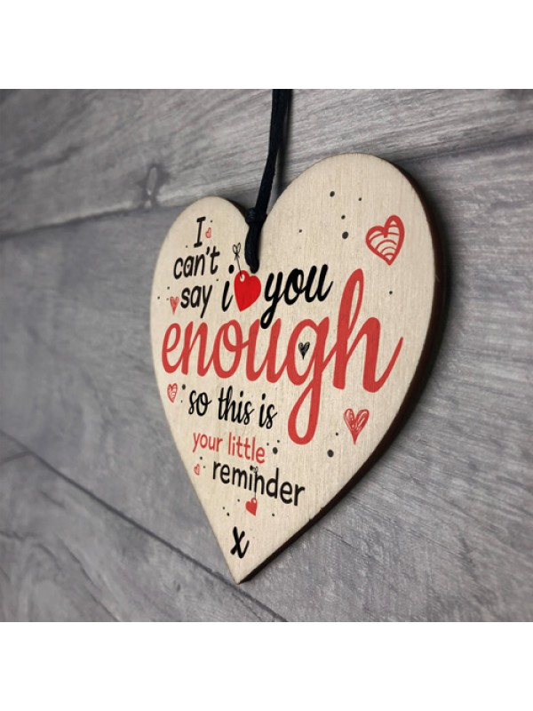 Love Enough Wooden Hanging Heart Anniversary Family Sign Gifts