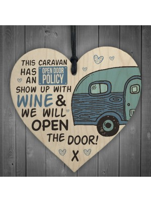 Caravan Open Door Wooden Hanging Plaque Shabby Chic Sign Gifts