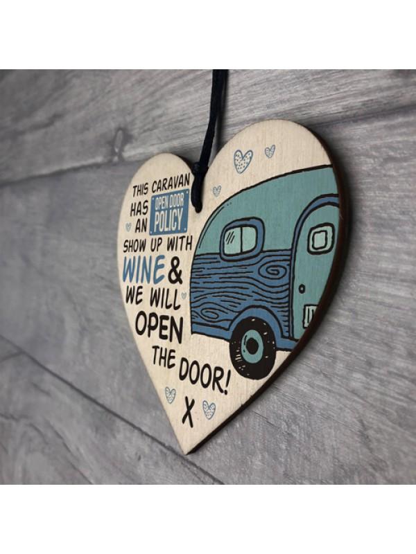 Caravan Open Door Wooden Hanging Plaque Shabby Chic Sign Gifts