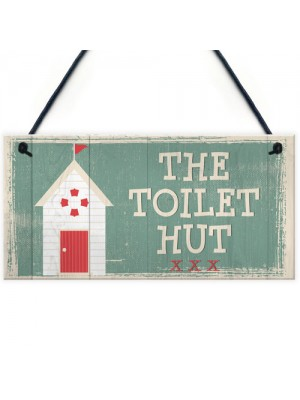 The Toilet Hut Shabby Chic Bathroom Sign Seaside Plaques Gifts