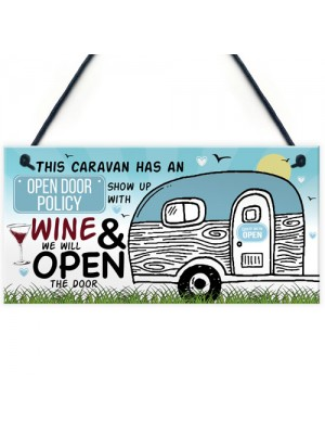 Open Door Policy Caravan Hanging Plaque Novelty Chic Camping Art