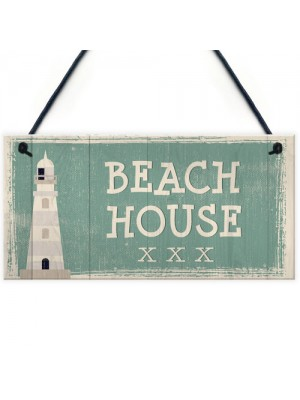 Beach House Shabby Chic Sign Vintage Nautical Seaside Plaque Art