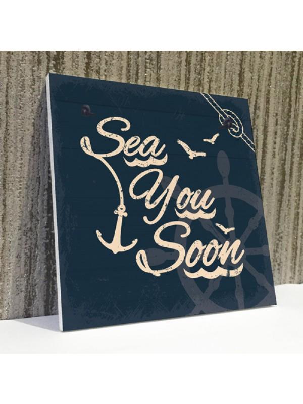 Sea You Soon Nautical Seaside Coastal Beach Plaque Bathroom Sign