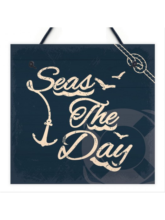 Seas The Day Nautical Seaside Bathroom Toilet Sign Shabby Chic