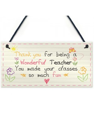 Wonderful Teacher Leaving Nursery Preschool Thankyou Plaque Gift