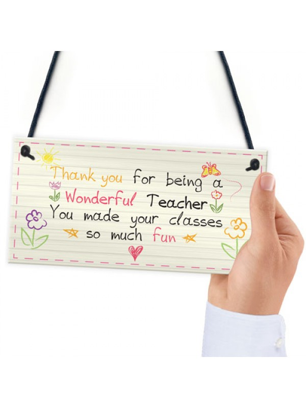 Wonderful Teacher Leaving Nursery Preschool Thankyou Plaque Gift