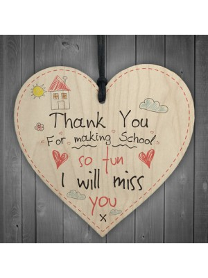 Teacher Leaving Thank You Gift Wood Heart Sign End of Term