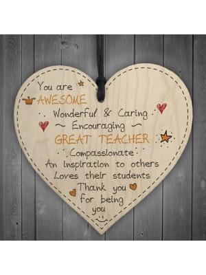 Great Teacher Leaving Nursery Wooden Heart Preschool Thank You