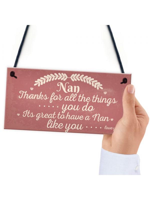 Nan Love You All Hanging Plaque Nanny Grandma Birthday Gift SIGN