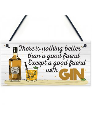 Friend With GIN Party Drink Gift Cocktail Novelty Hanging Plaque