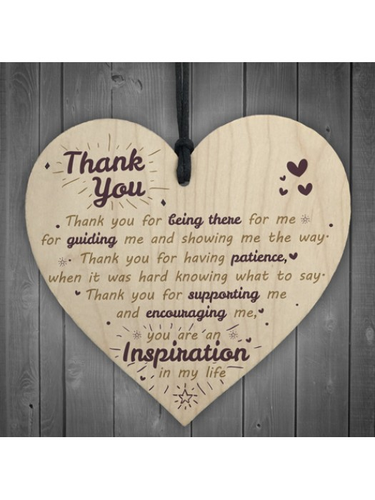 Thank You For Being There Wooden Hanging Heart Friendship Signs