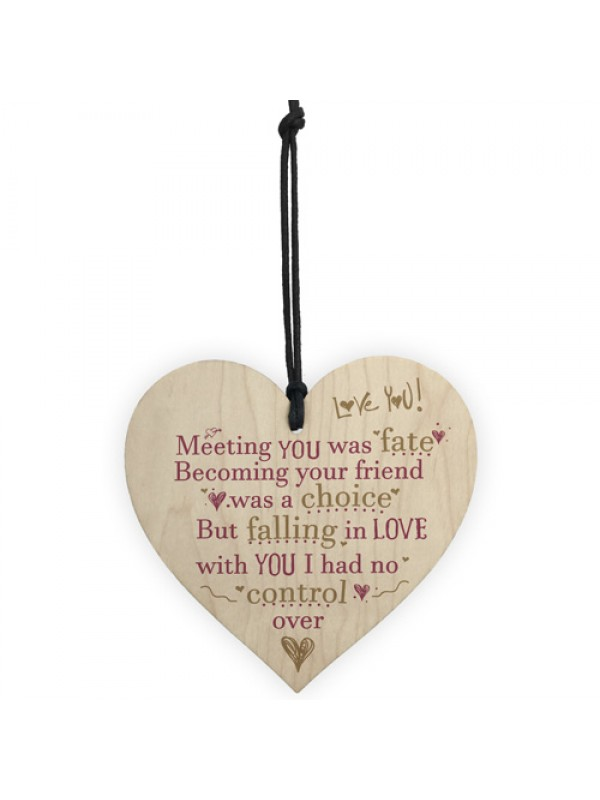 Meeting You Was Fate Wood Heart Sign Friendship Anniversary Gift