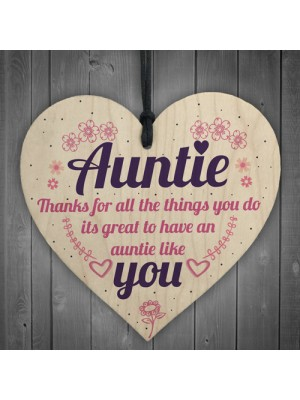 Aunties Like YOU Present Wooden Heart Sign Friendship Love Gift