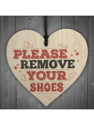 Please Remove Shoes Porch Hanging Door Sign Wooden Heart Plaque