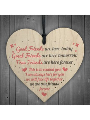 True Friends Friendship Sign Plaque Gift Shabby Chic Wood Heart