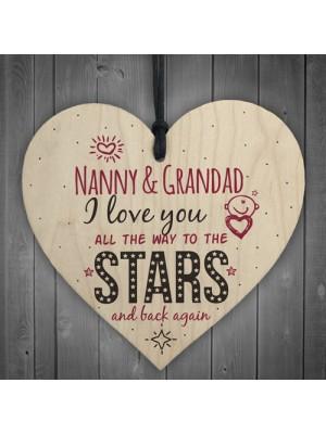 Love You Nanny & Grandad Wooden Heart Wall Plaque Keepsake Gift