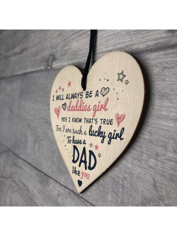 Daddies Girl Fathers Day Dad Hanging Heart Signs Thank You Gifts