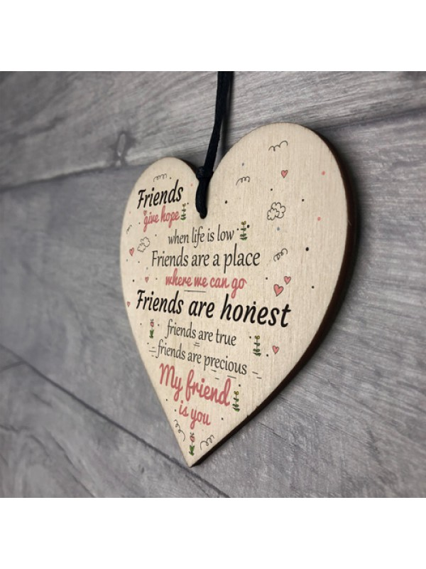 My Friend Is You Wooden Hanging Heart Friendship Birthday GIFTS