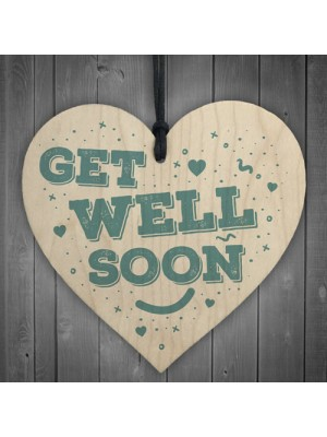 Get Well Soon Thinking of You Love Gift Wooden Heart Sign Plaque
