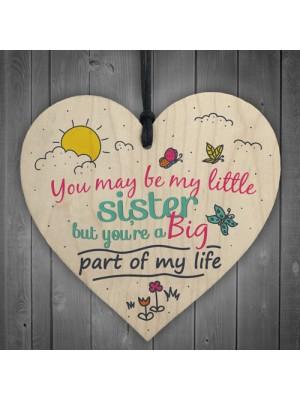 Little Sister Big Part Wood Heart Plaque Sister Bestfriend Gifts