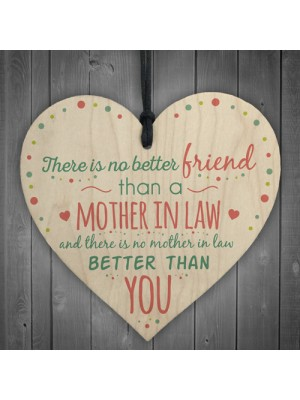 Mother In Law Hanging Heart Friendship Birthday Gift Thanks Sign