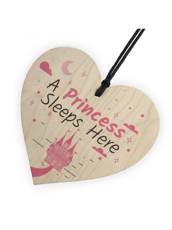 Princess Sleeps Here Hanging Heart Baby Daughter Bedroom Plaque