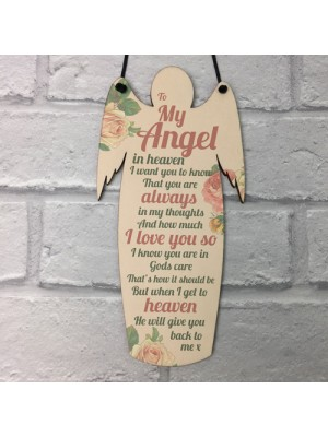 My Angel Grave Wooden Angel Plaque Loving Memory Mum Dad Nan