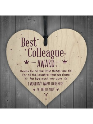 Best Colleague Award Hanging Heart Plaque Work Friendship Thanks