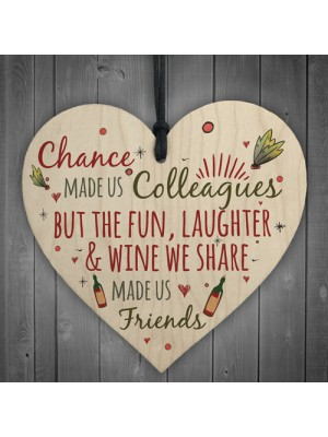 Colleagues Fun, Laughter & Wine Novelty Wood Heart Leaving Gift