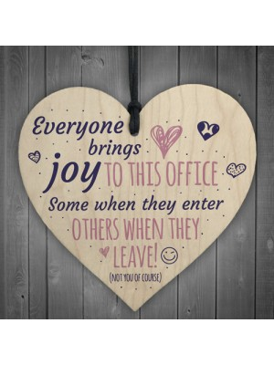 Bring Joy To The Office Novelty Wooden Heart Leaving Gift Plaque