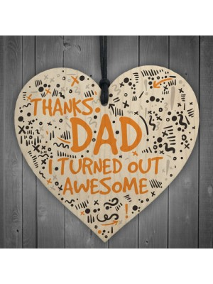 Thanks Dad Awesome Wooden Heart FATHERS DAY Gifts Son Thank You