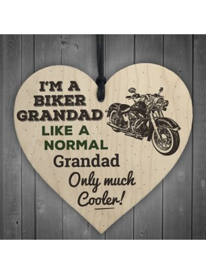 Biker Grandad Hanging Heart Plaques Sign Funny Motorcycle Gifts