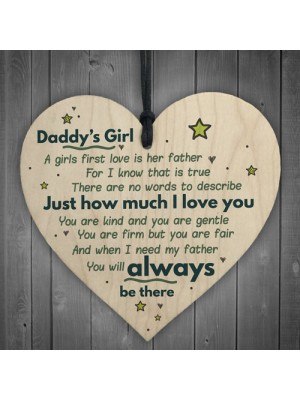 Daddy's Girl Hanging Wooden Heart FATHERS DAY Gift For Him Idea