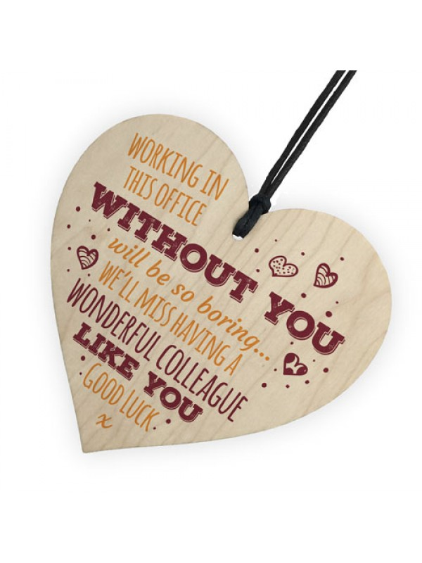 Wonderful Colleague Wooden Heart Plaque Friendship Sign Bye Gift