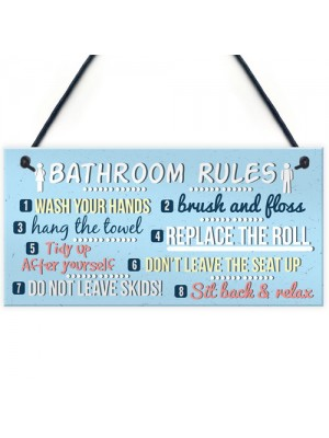 Bathroom Toilet Loo Rules Shabby Chic Vintage Retro Funny Sign