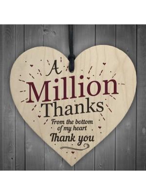 A Million Thanks Friendship Sign Best Friend Gift Wooden Heart